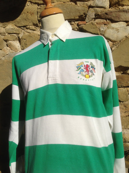 Vintage early striped Benetton Rugby (M/L)