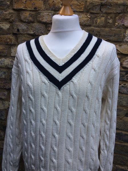 Vintage hand knit Polo Pullover (M)