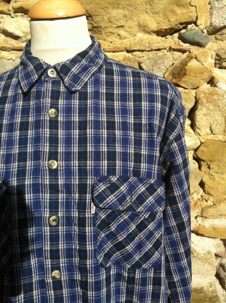 Vintage Layered Woven Blue Levi's Workman Flannel (XL)