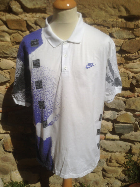 Vintage patterned Nike Challenge Court Polo (M)