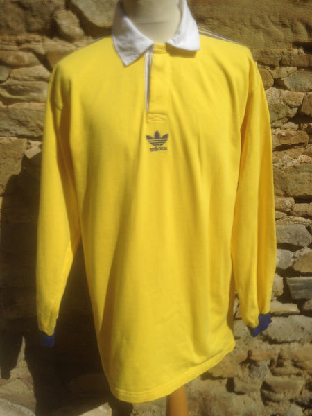 Vintage Yellow Adidas Trefoil Rugby (L/XL)