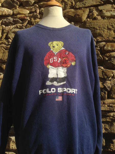 Vintage Navy Polo Sport Bear Sweater
