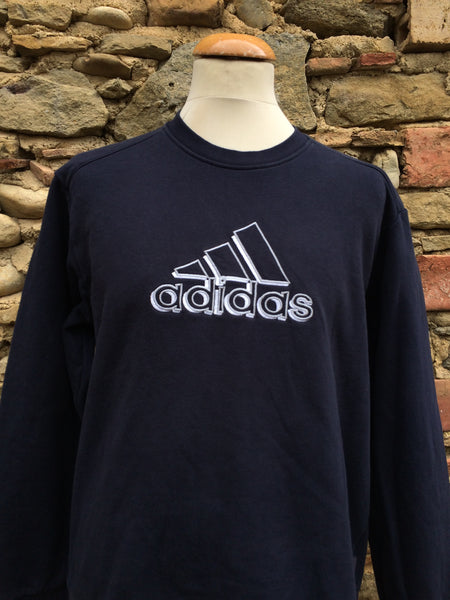 Vintage Silver & White Adidas Sweater (S/M)