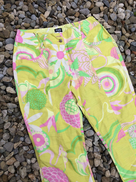 Womens Lime floral D&G Trousers