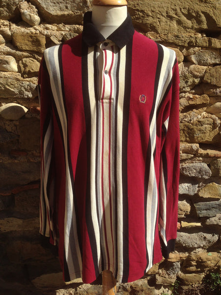 Vintage Red striped Hilfiger cord Polo