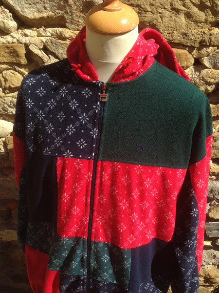 Vintage star patterned Hooded Fila Fleece (M)