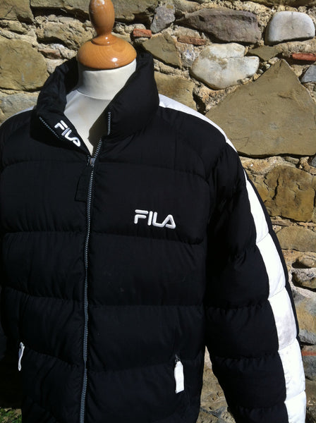 White on Black down Fila Puffer
