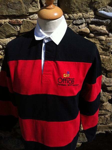 Striped Microsoft Office Rugby Shirt (S)