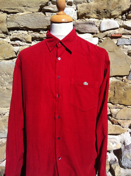 Red Lacoste Corduroy Shirt