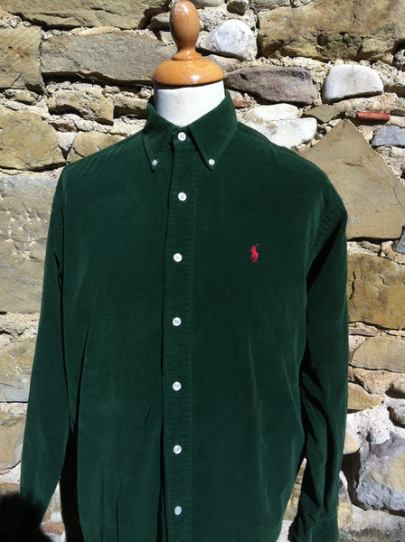 Red on Forrest Green Polo Corduroy