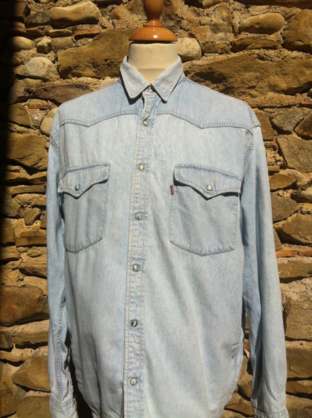 Distressed baby Blue Levi's Denim Shirt