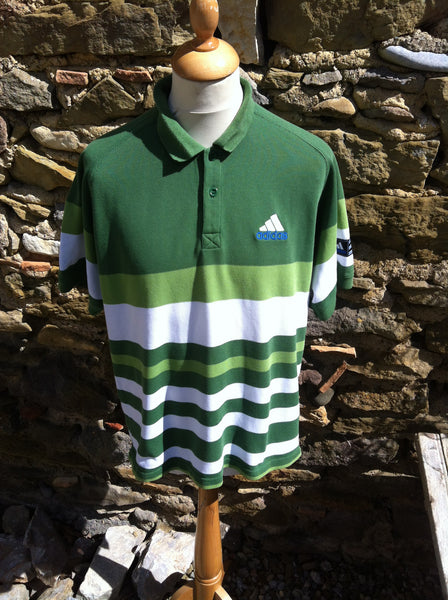 Vintage mixed Green Striped Adidas Polo (S/M)
