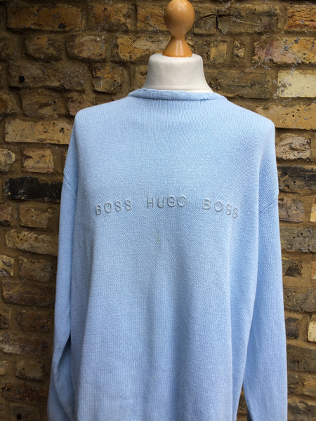 Vintage Baby Blue Boss spellout Knit (XL)