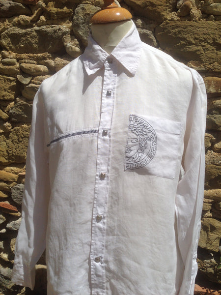 White linen embroidery Versace Shirt (S/M)