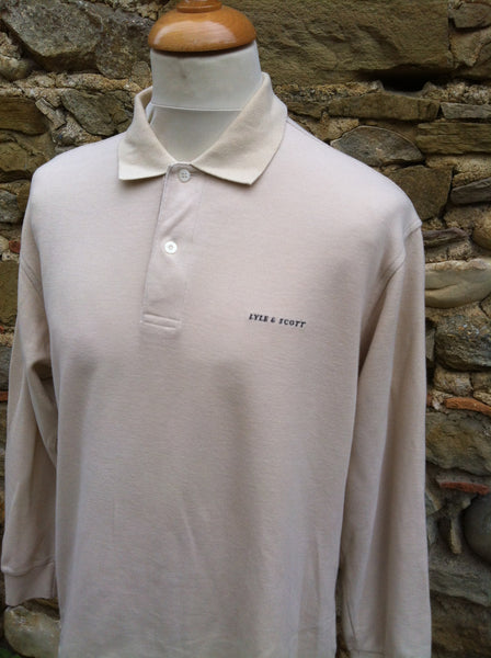 Tanned Lyle & Scott Spellout long sleeve Polo (S/M)