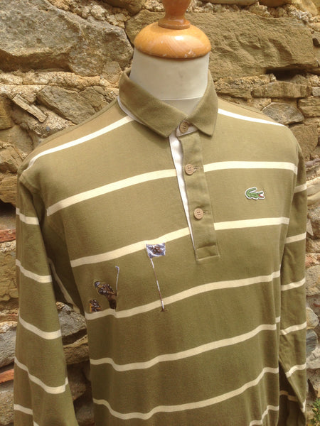 Vintage striped Lacoste golf button up (XS/S)