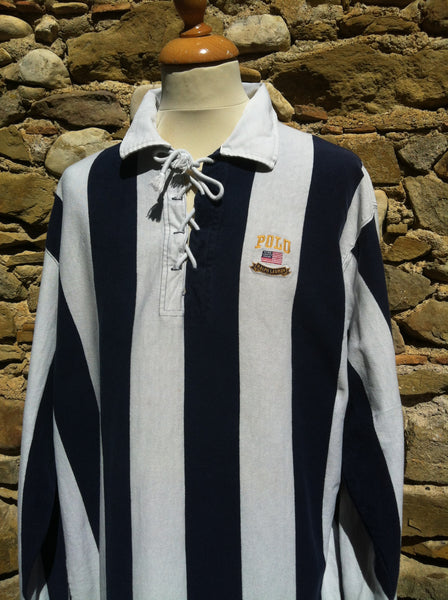 Vintage striped Polo string up Sweater