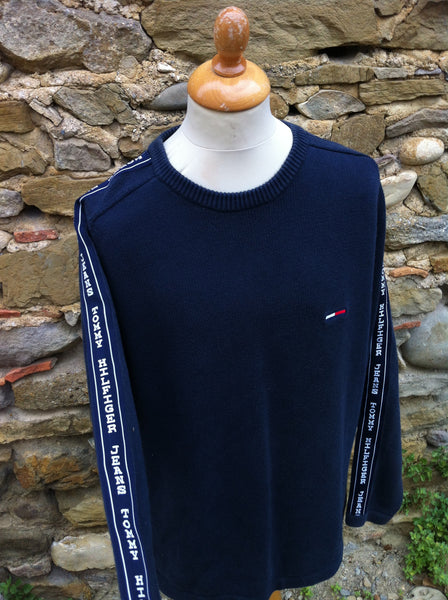 Heavy Hilfiger sleeve patch knitwear