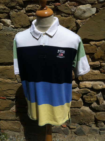 Striped Polo Flag Shirt (M)