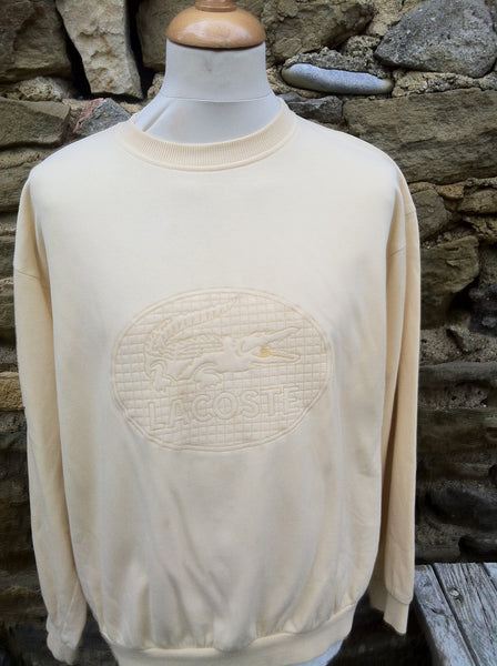 Vintage Cream engraved Lacoste Sweater
