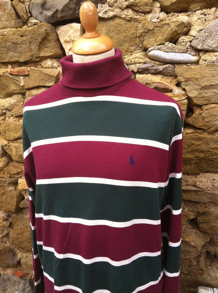 Vintage Maroon striped Ralph Lauren Polo Turtleneck