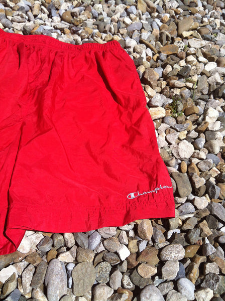 Vintage Red Champion Track Shorts