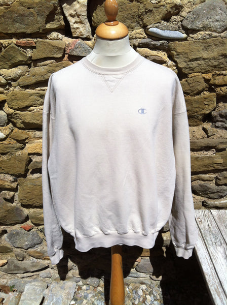 Vintage Silver on Khaki Champion Logo Sweater