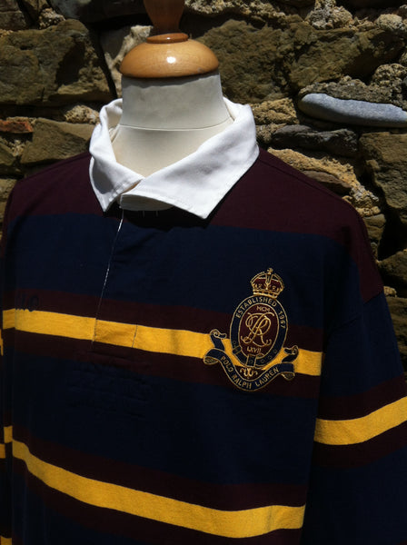 Vintage Polo Ralph Lauren Maroon Striped Rugby Shirt