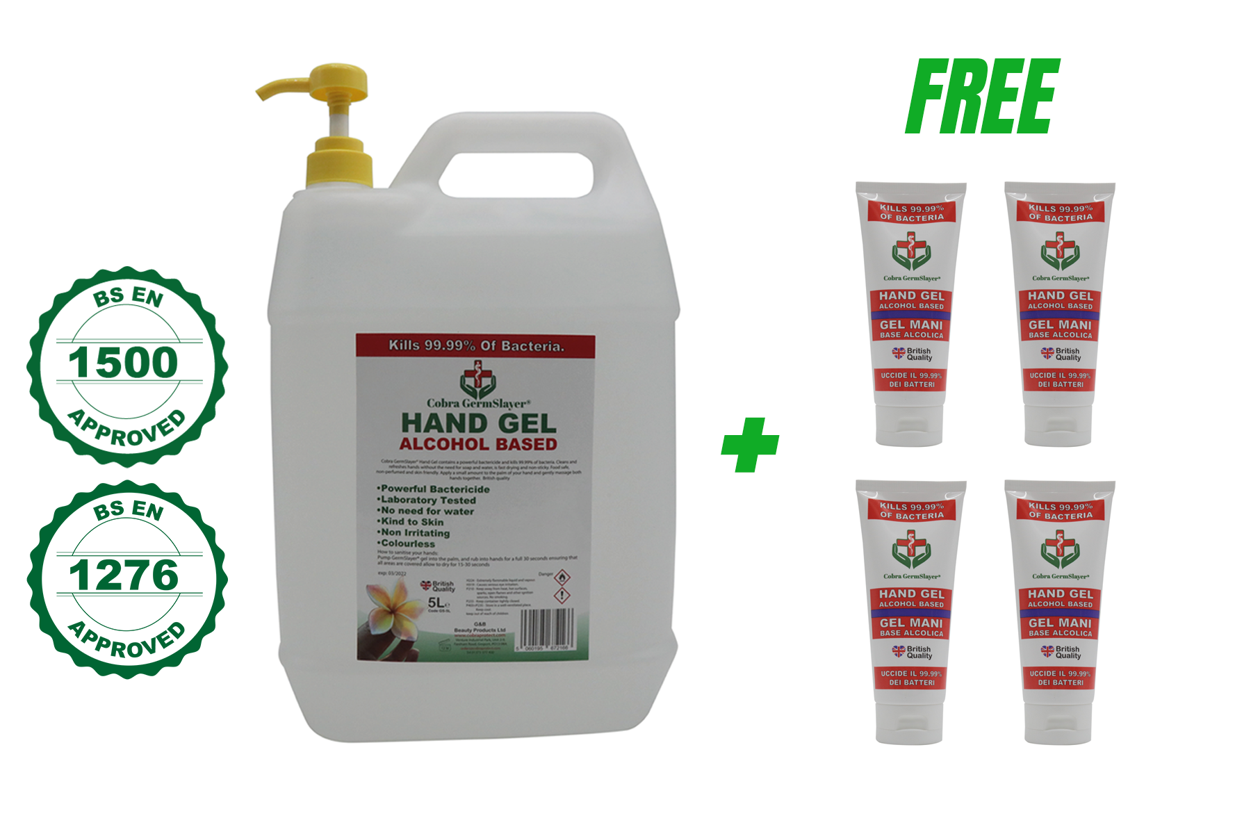 5L Germslayer® Antibacterial Hand Gel Sanitiser PLUS FREE 4 x 100 ml