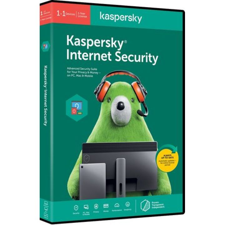 Kaspersky Internet Security 1+1 free device (1 year) DVD box
