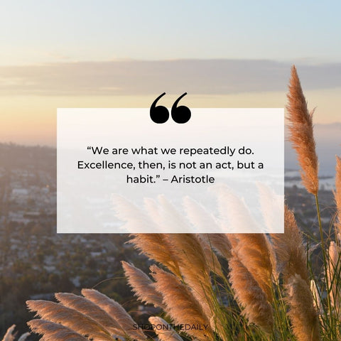 """""""We are what we repeatedly do. Excellence, then, is not an act, but a habit."""" – Aristotle"""