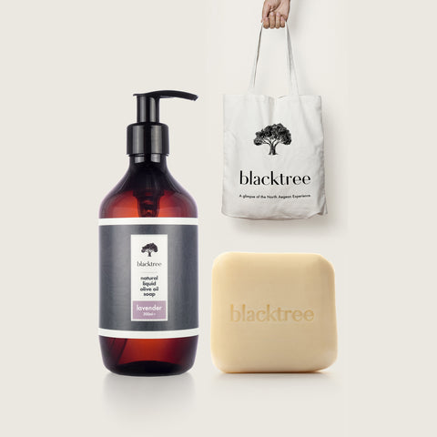 October's Special Package - 1x Liquid Olive Oil Soap, 1x 150gr Stone Soap, 1x Tote Bag