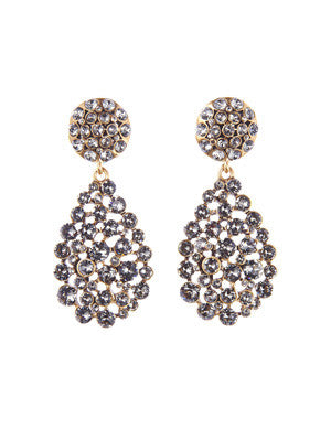Oscar de la Renta Black Diamond Classic Teardrop Earrings - Loulerie