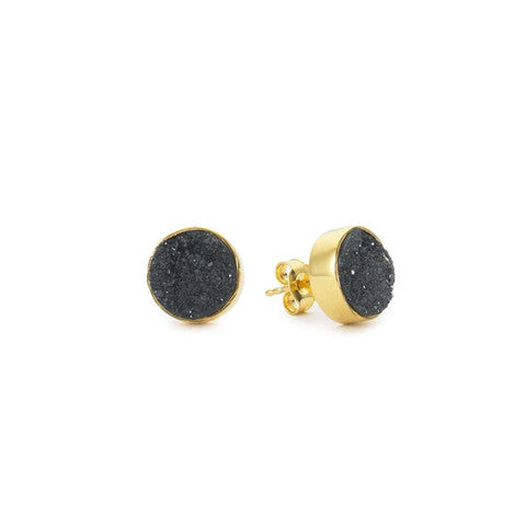Margaret Elizabeth Black Druzy Stud Earrings -