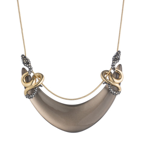 Alexis Bittar Smokey Grey Double Coiled Snake Lucite Necklace