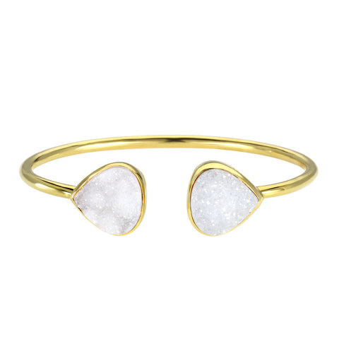 Margaret Elizabeth White Druzy Teardrop Bangle