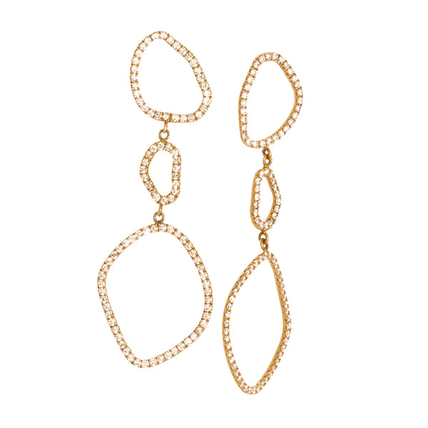 Loulerie Triple Wave Yellow Gold White Diamond Earrings