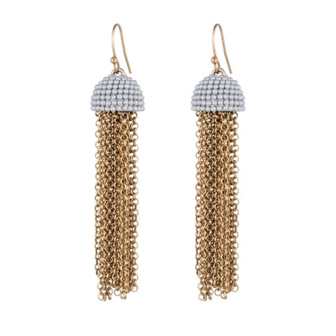 Lulu Frost Ursula Tassel Pearl Cap Earrings - Loulerie