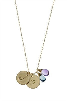 Nashelle Double Disc and Gemstone Necklace. -  - 1