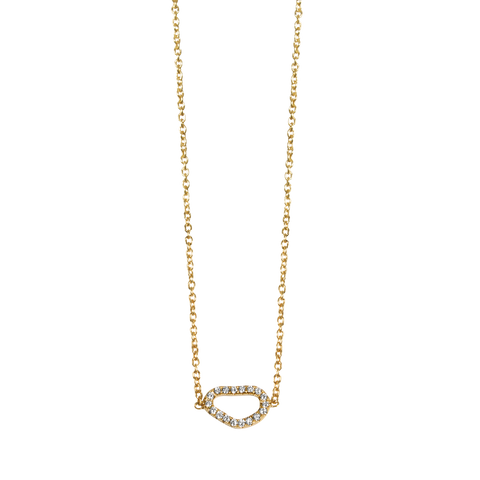 Loulerie Yellow Gold White Diamond Wave Necklace - Loulerie - 1