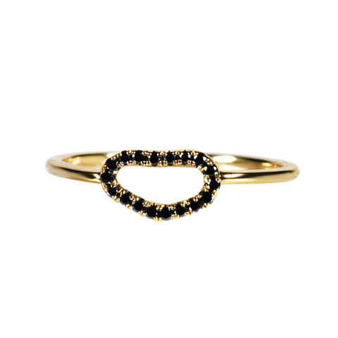 Loulerie Yellow Gold Black Diamond Wave Ring - Loulerie