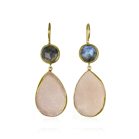 Margaret Elizabeth 2 Stone Drop Labradorite and Pink Druzy Earrings