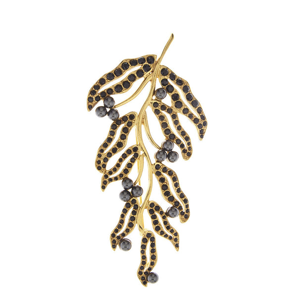Oscar de la Renta Black Hammered Leaf Brooch