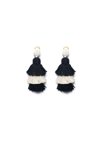 Oscar de la Renta Short Silk Monochrome Tassel Earrings