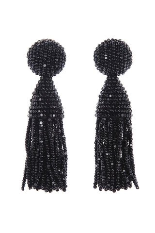 OSCAR DE LA RENTA BEADED BLACK TASSEL EARRINGS