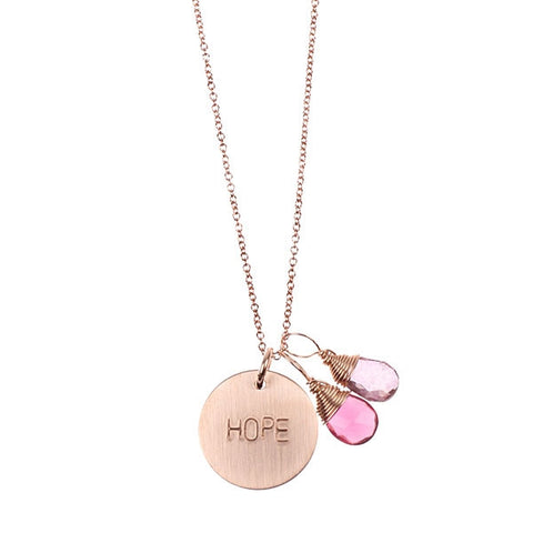 Nashelle Rose Gold Initial Disc Necklace -  - 1