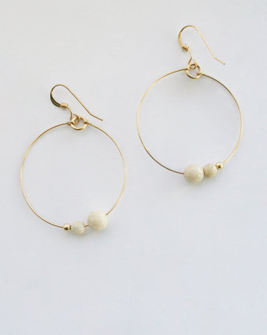 Lisa Dora White Riverstone Hoop Earrings