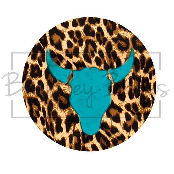 Leopard Steer Head Round Sublimation Transfer