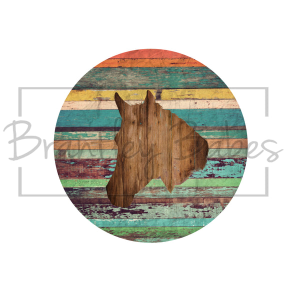 Rustic Woodgrain Horse Head Round Sublimation Transfer