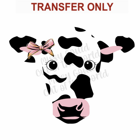 Cute Moo Cow Head Sublimation Transfer